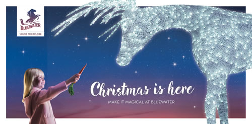 "Shopping centre operators Bluewater has launched a new festive integrated campaign, ""Christmas is here. Make it magical"""