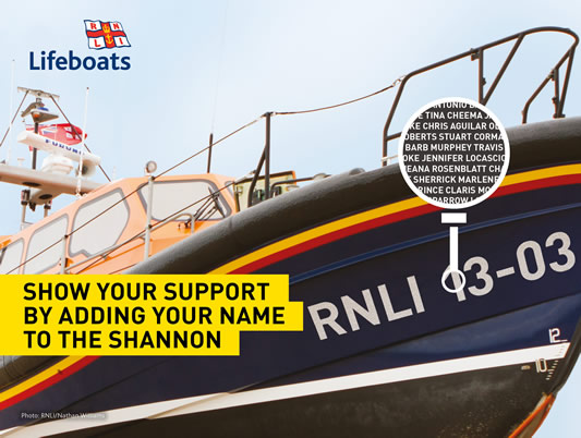 RNLI supporters have the chance to have their names on a lifeboat via a prize draw. 20,000 names will appear on the hull of the new Shannon class boat.