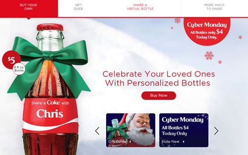 "Coca-Cola US has launched a Christmas ""Share a Coke"" campaign; consumers can order bottle with seasonal names and messages like ""Santa,"" ""Someone Nice,"" ""Someone Naughty,"" ""Under the Mistletoe,"" ""Elves"" and ""Secret Santa."""