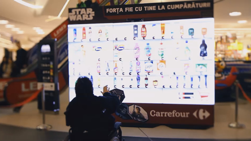 "For the Romanian cinema release of Star Wars ""The Force Awakens"", supermarket Carrefour Romania put interactive billboards into outlets letting customers use Jedi-like gestures to buy products."