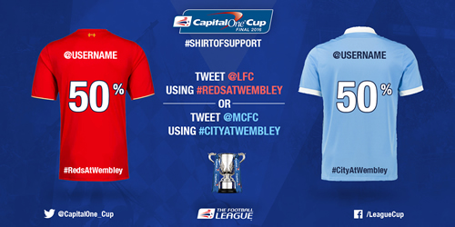 Liverpool and Manchester City fans can get digital personalised club shirts in return for them backing their team ahead of Sunday's Capital One Cup Final.