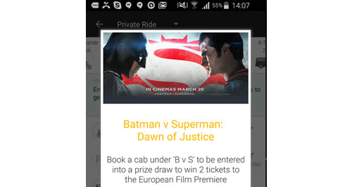 Taxi app Gett has linked with Warner Bros. Pictures UK for a promotion offering tickets to the London premiere of Batman V Superman: Dawn Of Justice.
