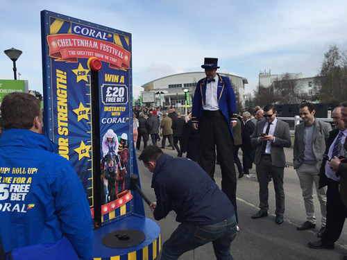 Coral is bringing circus thrills to this year's Cheltenham festival with a campaign to get punters to choose it for bets at the racecourse.