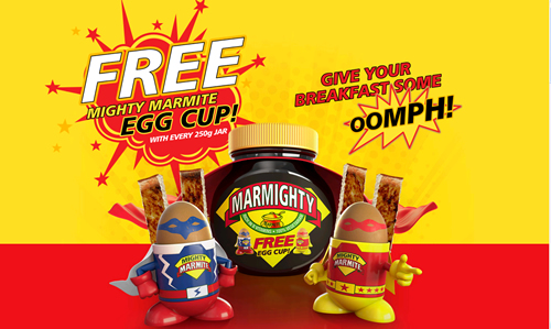 Marmite is running an on pack promotion across its 250g jars, offering consumers the chance to get a free superhero Marmite egg cup with every purchase.