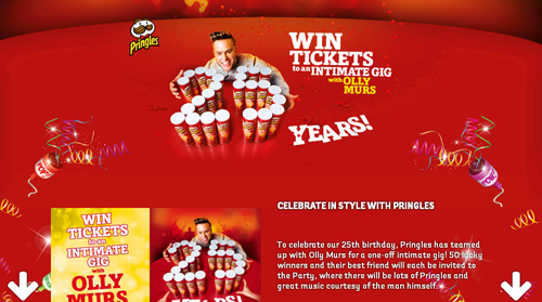 Pringles is celebrating its 25th birthday with a promotion offering the chance to win tickets to an exclusive London live gig with singer Olly Murs in May.
