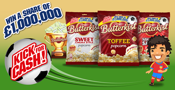 Butterkist popcorn is launching a new campaign called Kick for Cash, coinciding with the run up to the 2016 UEFA European Championships or Euro 2016, with an online 'penalty challenge' game offering consumers the chance to win a share of £1m.