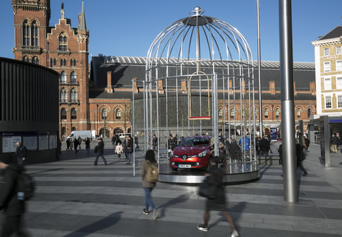 Renault celebrated the Renault Clio's 25th birthday with an experiential activation at Kings Cross St Pancras station featuring a car in a gilded birdcage.