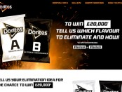 Doritos' new flavour campaign offers the chance to win £20,000 by voting to eliminate one of two new flavours – Sizzling Salsa or Ultimate Cheeseburger.