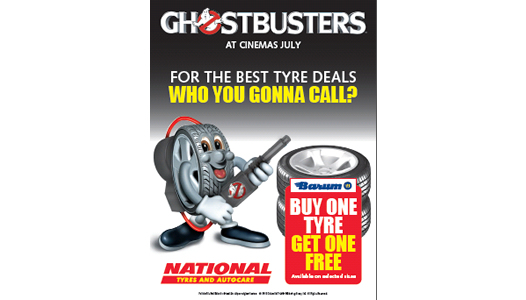 National Tyres and Autocare, Sony Mobile, O2 for O2 Priority and cleaning technology company Karcher are supporting the UK release of the new Ghostbusters.