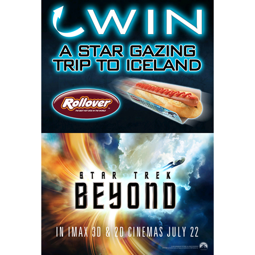 Rollover Hot Dogs has launched a new competition to win a trip to Iceland in partnership with Star Trek Beyond, which opens in the UK on July 22nd 2016.