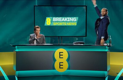 Kevin Bacon plus various football greats are promoting the fact that EE customers are being offered six months free access to BT Sport channels.