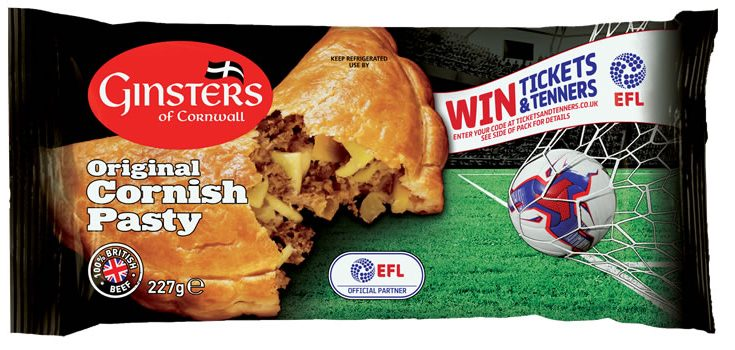 Food company Ginsters has signed a new three year deal with the English Football League, and is kicking off the relationship with an on-pack promotion offering consumers the chance to win £10, EFL match tickets, season tickets and VIP Match day experiences.