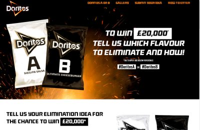 Doritos' flavour campaign, A or B, has reached its conclusion, drawing in over 50,000 consumer entries. Consumers were asked to select whether Ultimate Cheeseburger or Sizzling Salsa should join the line-up.