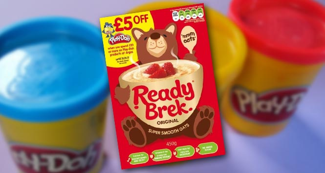 Ready Brek has teamed up with Play-Doh for a new on-pack promotion running until January 31st 2017.. where consumers can get £5 off Play-Doh when spending £20 or more on the children's modeling clay or associated Play-Doh products such as the Play-Doh factory. The promotion will be appearing on the breakfast cereal's Original variety 450g and 750g pack sizes.
