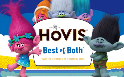 Hovis has linked up with Trolls, the latest film from DreamWorks Animation, for an on-pack promotion offering the chance to win a family holiday to Los Angeles, where they will also visit the DreamWorks and Fox studios. The promotion is appearing on eight million loaves of Best of Both and is already in store.
