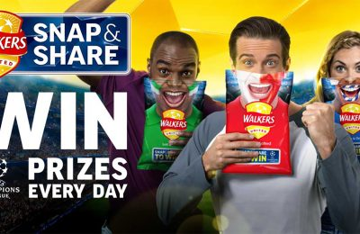 Walkers has backed the launch of a range of re-sealable 175g sharing packs with a new on-pack 'Snap & Share' promotion as part of its Uefa Champions League (UCL) sponsorship. Every promotional pack features the lower half of a football fan's face. To enter, shoppers need to hold the pack up to their own face, take a selfie and share it on Twitter, Instagram or Facebook for a chance to win.