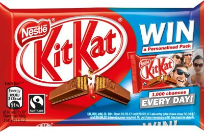 Nestlé Confectionery is offering consumers the chance to win KitKat packs with personalised messages and pictures. The promotion runs from February 1st until March 29th across KitKat 4 Finger and Chunky singles, multipacks and 2 Finger biscuit packs.
