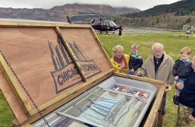 "The UK's No. 1 frozen pizza brand, Chicago Town, has just given residents of the UK's most remote community, the Scottish village of Inverie on the Knoydart Peninsula, ""the ultimate takeaway taste"" in a stunt which saw a crate containing a fully-stocked freezer cabinet packed full of Chicago Town's 'The Takeaway' pizza flown in by helicopter and landed in a local field."
