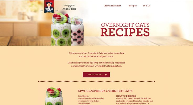 Quaker Oats has partnered design company MissPrint for an on-pack promotion giving away limited edition designer mason jars.