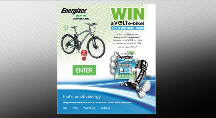Energizer has partnered with Volt electric bikes for a new promotion for its Energizer EcoAdvanced batteries, offering the chance to win one of 15 Volt cycles worth £1,500 each.