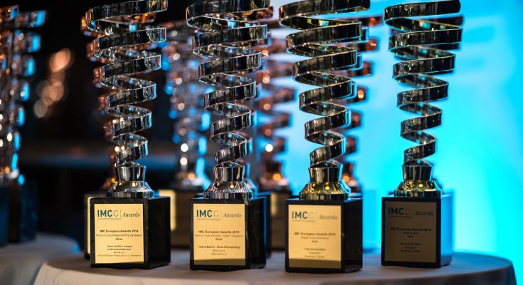IMC European Awards 2016 trophies waiting to be handed out.