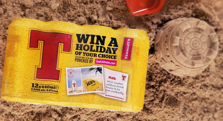 Tennent's Lager is expanding its 'Here to serve' campaign with an on-pack competition offering consumers the chance to win one of 20 lastminute.com holidays worth £2,000 or one of 8,000 limited edition 'banter branded' beach towels.