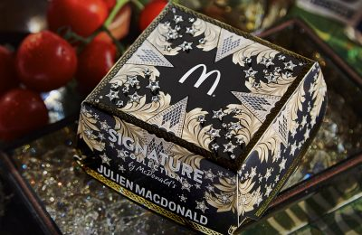 McDonalds UK has partnered with fashion industry icon, Julien Macdonald OBE, to unveil his interpretation of a deluxe burger box for McDonald's Signature Collection, its range of gourmet burgers.