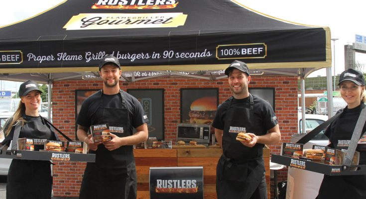 Snack food brand Rustlers is running a nationwide sampling campaign for its recently-launched Gourmet burger range.