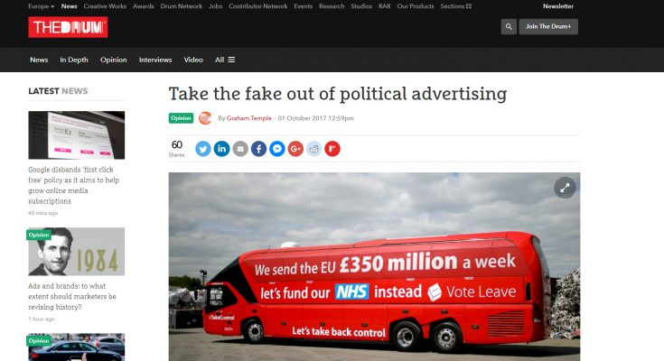 The Drum has published a comment piece on political advertising written by Graham Temple, former Chairman of the Institute of Promotional Marketing.