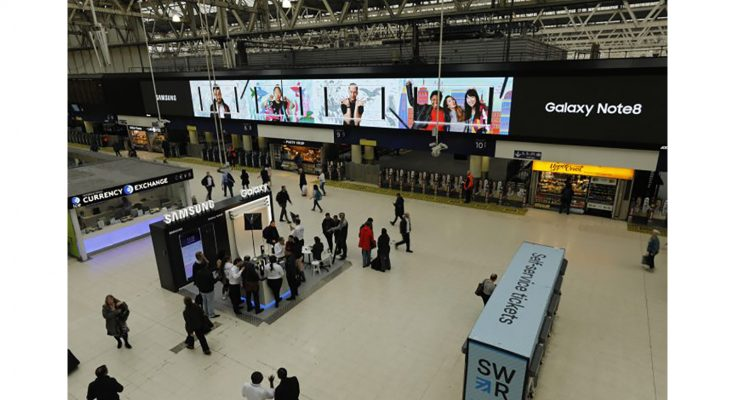 Samsung has been supporting the launch of the Galaxy Note8 with experiential and Out-of-Home take-overs of key locations in some of the world's busiest cities, including London's Waterloo Station.