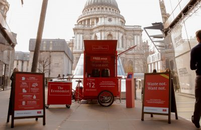 In a new twist on its #feedingthefuture campaign, The Economist is encouraging Londoners to try free nutritious soup made from vegetables destined for the rubbish bin. Engaging with people through a branded mobile trike, the iconic newspaper is showing people that ugly, discoloured or misshapen produce, which is rejected by supermarkets can still be eaten and tastes great.