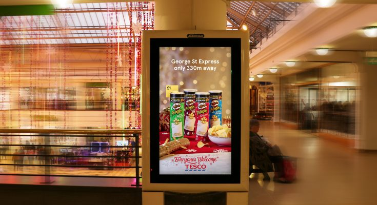 Tesco is combining store data with DOOH.com's RUSH delivery platform to deliver festive product offers and individual store opening hours to digital Out of Home screens in close proximity to stores across the UK.