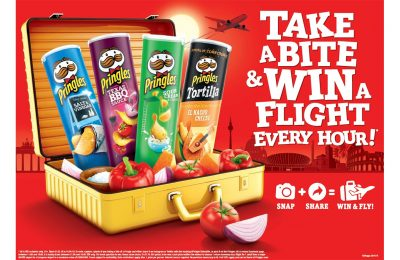 Kelloggs-owned savoury snack brand Pringles is running a promotion offering consumers the chance to win £300 in free flights to European destinations every hour, by posting pictures of themselves taking a bite of a Pringles chip to social media.
