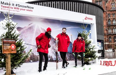 Specialist ski airline Swiss International Air Lines (SWISS) ran a one-day experiential campaign at King's Cross station last week, bringing a powder day to London and encouraging commuters to dig out their salopettes and book flights to the Alps.