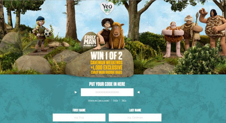 Dairy company Yeo Valley is running an on-pack promotion linked to the new Aardman film, Early Man, offering consumers the chance to win one of two Caveman breaks or one of 1,000 Early Man goodie bags.