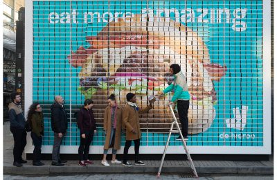 On-demand delivery service Deliveroo celebrated the fact that it has now delivered 10 million burgers in the UK since launch in 2013 with what it claims was the world's first billboard made entirely out of burgers, all of which were free for passers-by to eat.