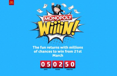 McDonald's launches McDonald's Monopoly Wiiiin, the latest version of its annual Monopoly promotion, on March 21st 2018. The promotion ends May 1st 2018.
