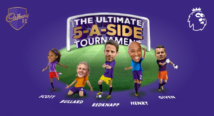 Cadbury is launching a new promotion, as part of its successful partnership with the Premier League, which offers consumers the chance to compete in a 5-a-side football tournament with five football stars; Thierry Henry, Jamie Redknapp, Shay Given, Jimmy Bullard and Alex Scott.