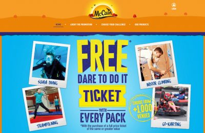 McCain has launched an on-pack promotion offering consumers free tickets to participating attractions across Britain. The activities on offer include tree top adventures, go-karting, Segway tours, scuba diving and trampolining, at more than 1,000 locations.