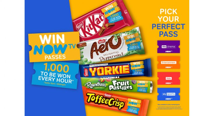 Nestlé UK and Ireland has partnered with online streaming service NOW TV to launch a brand new on-pack promotion which will feature on some of its favourite confectionery brands including KitKat, Aero, Yorkie, Toffee Crisp and Rowntree's Fruit Pastilles.
