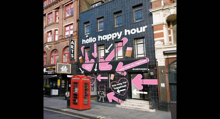 Benefit Cosmetics has teamed up with happiness expert Laura Jane Williams to create the Hello Happy House, designed to take guests on a journey through the differing states of happiness during an immersive 'Happy Hour' with a difference.