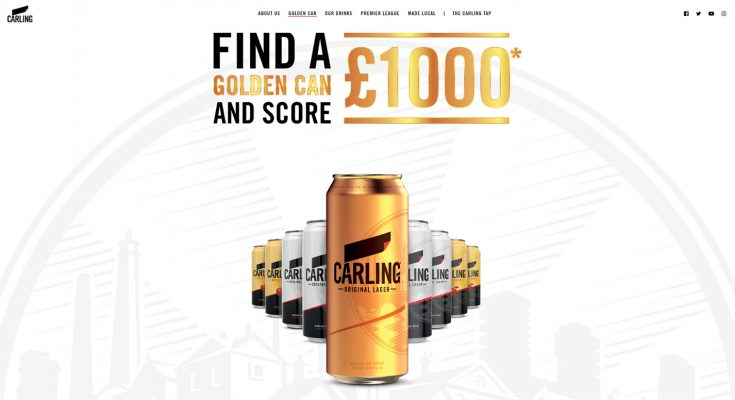 Carling has launched an on-pack promotion offering consumers the chance to win £1,000 cash if they find a limited-edition golden can in a pack of Carling Lager or Carling Apple Cider in participating retailers.
