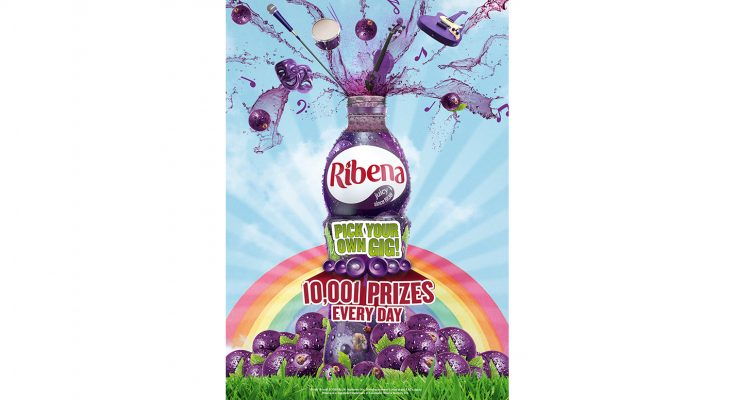 Ribena has launched a major summer on pack promotion, 'Pick Your Own Gig', offering customers in the UK and Republic of Ireland an opportunity to win tickets to a Ticketmaster event of their choice – with runner-up prizes of free music downloads and free bottles of Ribena.