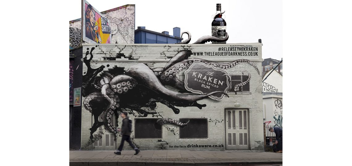 The Kraken Black Spiced Rum has partnered with Kinetic, the UK's leading out-of-home (OOH) agency, to bring the brand's iconic mythical beast to life on the streets of East London as part of a major new creative 3D OOH campaign.