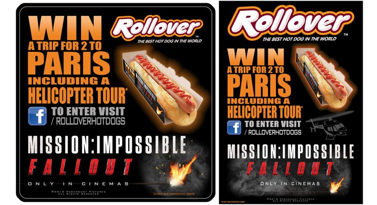 Rollover Hot Dogs is partnering with Mission: Impossible Fall Out, the sixth film in the Mission: Impossible series (in UK cinemas 25th July) with a competition to win a romantic trip for two to Paris, including a helicopter tour from Paris to Versailles.