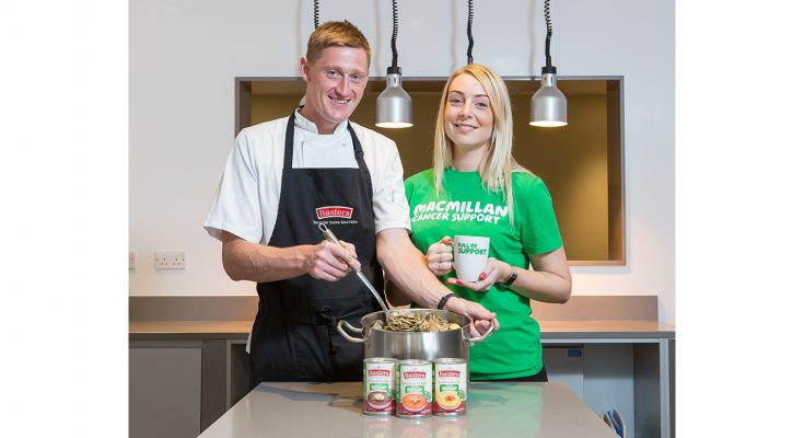 Laura Foreman Fundraising Manager for Macmillan joins Baxters Chef and Group Innovation Manager Darren Sivewright to serve up funds for Macmillan